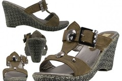 Sell: (24) New Wholesale Women's 2½ Wedge with Two Buttons Sandals