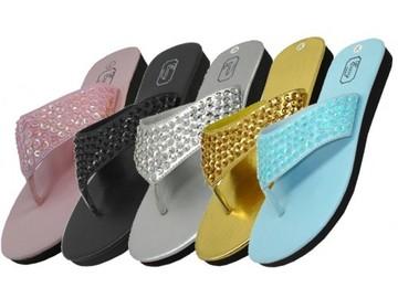 Liquidation Lot: (36) New Wholesale Women's Sequin Flip Flops