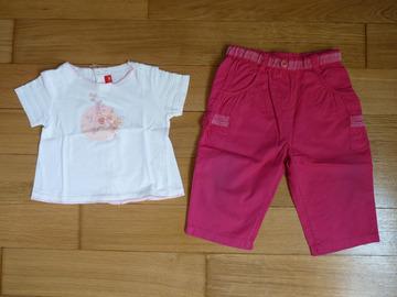 Vente: Ensemble T-shirt + pantalon fille Elle 9 mois