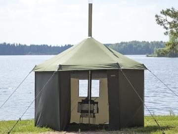 Vuokrataan (yö): Savotta telttasauna + kiuas + kasattavat lauteet + kivet