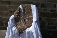 A vendre: Echarpe tissée a la main avec un fil marron alpaga un fil fa