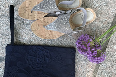 Products: Navy Blue Lace Lila Clutch